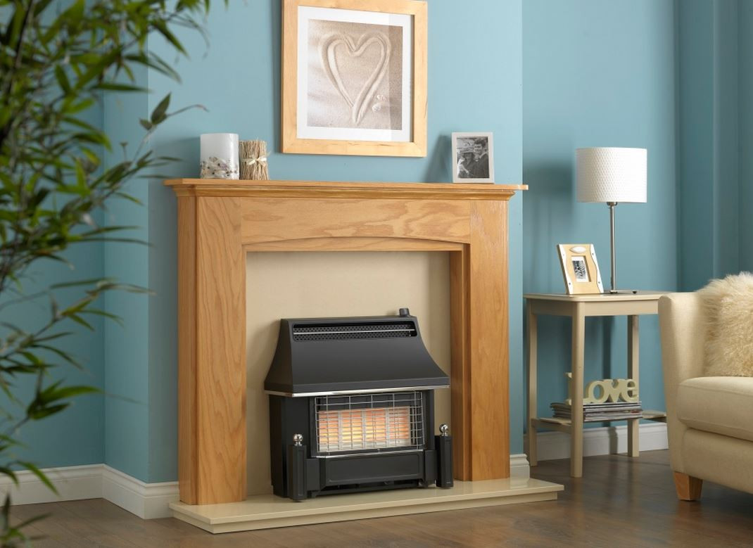 helmsley electronic ignition radiant gas fire black