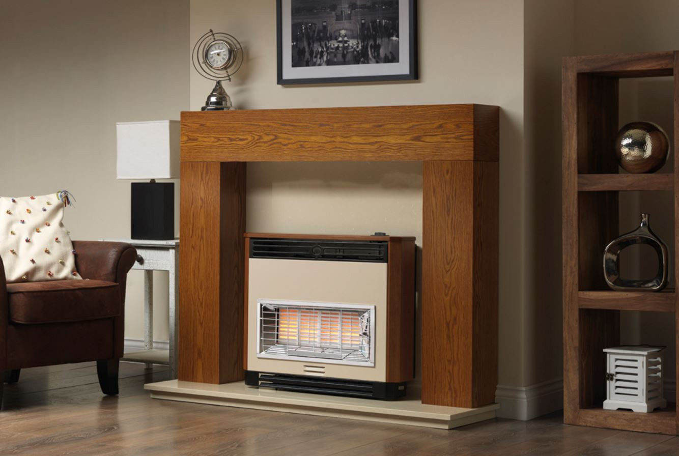 brava radiant electronic ignition gas fire teak