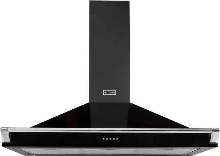 stoves black s1100 richmond 110cm chimney hood wit