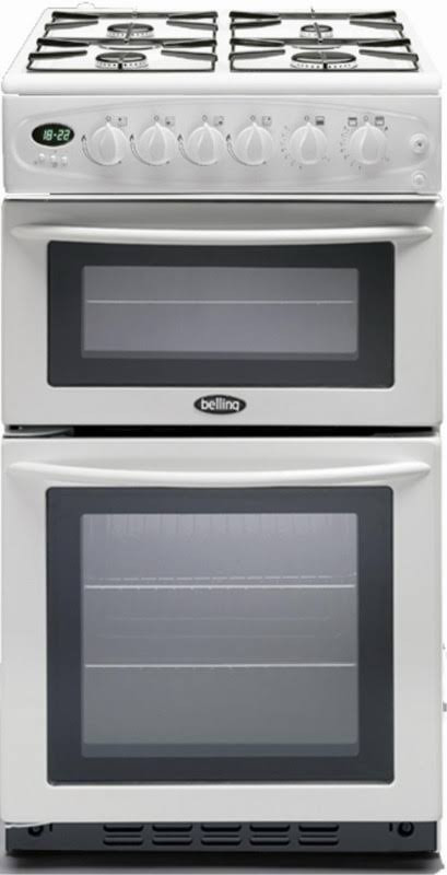 Belling GT756W White 50cm Double Oven Glass Lid Gas Cooker