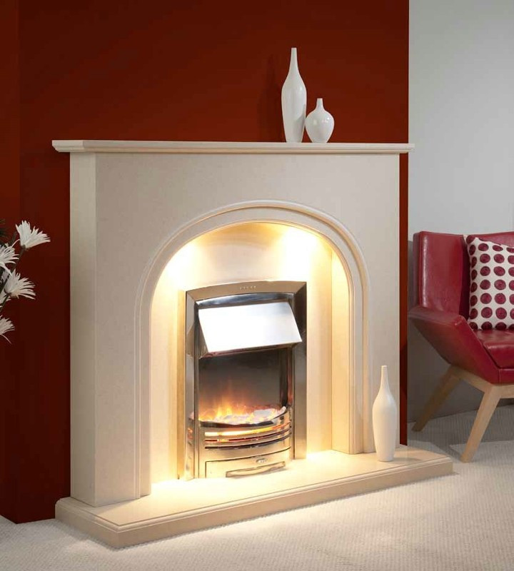Trueflame Marble Abbey in Beige Marfil Marble Fireplace
