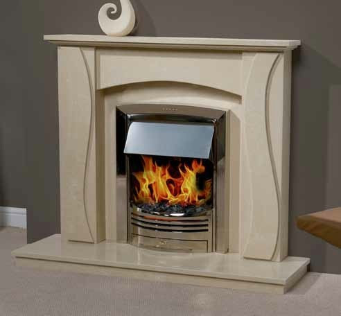 Trueflame Marble Scroll in Gioto Marble Fireplace