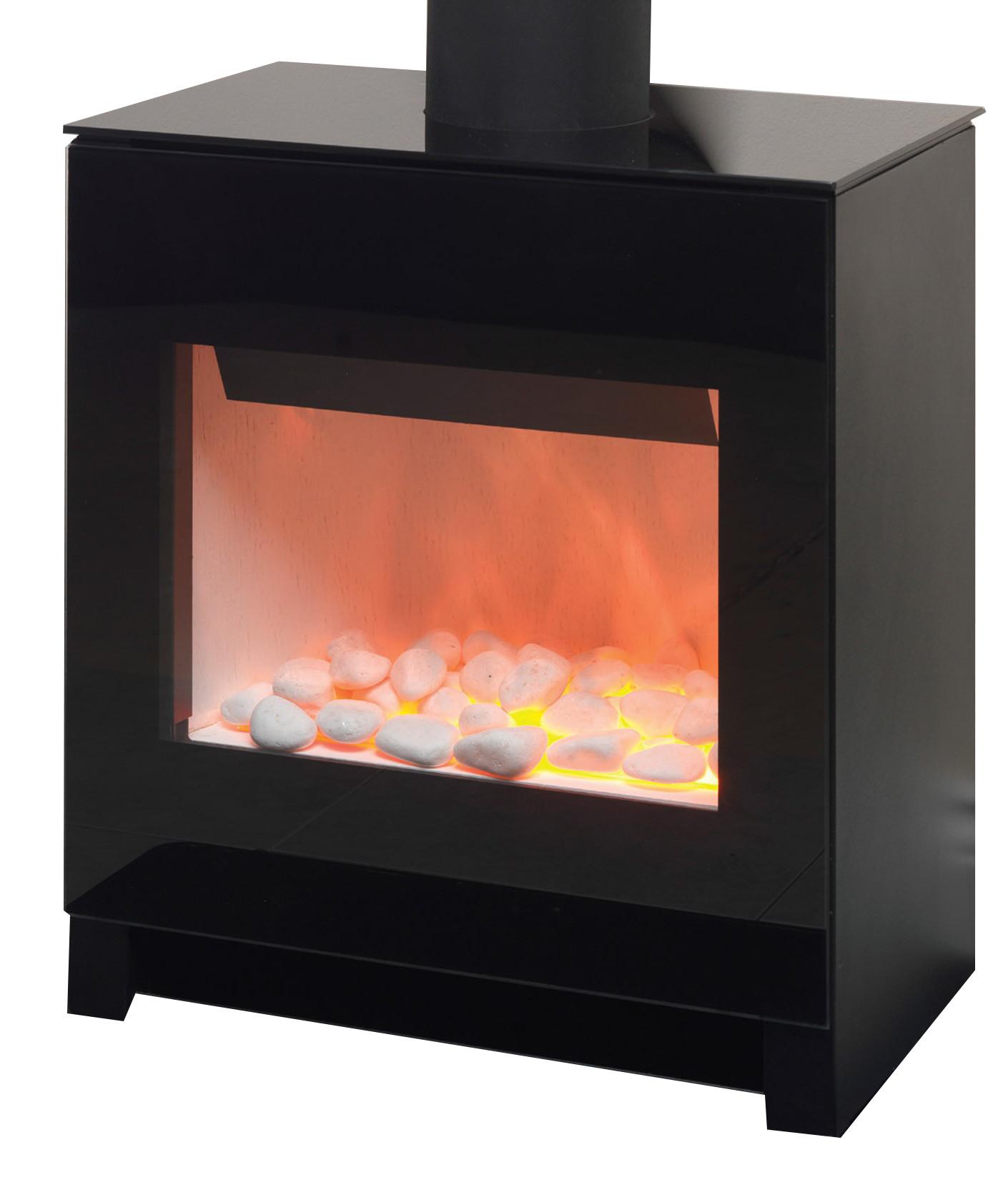 Flamerite Essence Apollo Small Electric Stove - Black Glass