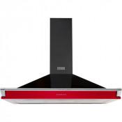 Stoves Richmond S1000 Chimney Hood in Black and Jalapeno Red