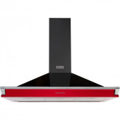 Stoves Richmond S1100 Chimney Hood in Black and Jalapeno Red