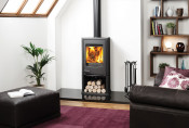 Dovre Astroline 2CB Wood Burning Stove - Anthracite / With Wood Box