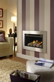 Trueflame Texas HE Log Remote Control Gas Fire - Black Interior W/ Brushed Stainless Steel Trim