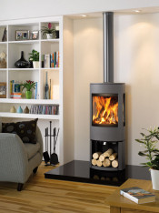 Dovre Astroline 4CB Wood Burning Stove - Anthracite / With Wood Store