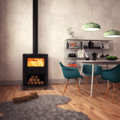 Dovre Bow Wood Burning Stove - With Wood Box