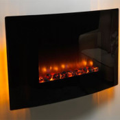 Be Modern Black Glass Orlando Curved Wall Mounted Electric Fire
