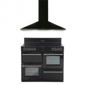 Belling 444442537 Black Classic 110E Range Cooker with 110CHIM Chimney Hood