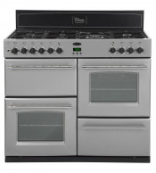 Belling 444442538 Silver Classic 1100E Range Cooker with 110CHIM Black Chimney Hood