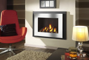 Crystal Manhattan HE Log Gas Fire - Brushed Steel W/ Black Interior