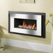 Crystal Miami HE Pebble Gas Fire - Brushed Steel W/ Black Interior