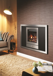 Crystal Fires Option 1 Montana Remote Control Gas Fire - Brushed Steel