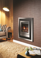 Crystal Fires Option 3 Montana Gas Fire - Brushed Steel