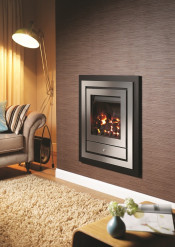 Crystal Fires Option 4 Montana Manual Gas Fire - Brushed Steel