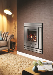 Crystal Fires Option 5 Montana Gas Fire - Brushed Steel