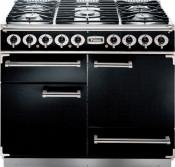 Falcon Deluxe 69160 Dual Fuel Range Cooker - Black/Chrome
