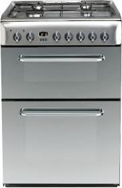 Indesit Inox KDP60SES Dual Fuel Double Oven Cooker - Stainless Steel
