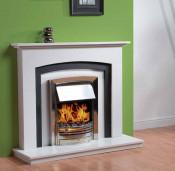 Trueflame Chrysoprase in Polar Marble with Black Slate Slips Marble Fireplace