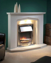 Trueflame Marble Proiry in Pearlstone Fireplace