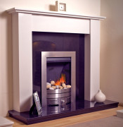 Trueflame Moselle Fire Surround with Lights - Polar White/Black Granite