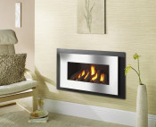 Crystal Miami HE Log Gas Fire - Brushed Steel W/ Black Interior