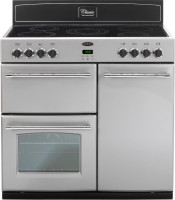 Belling 444442520 Silver Classic 90E Range Cooker with 90CHIM Black Chimney Hood