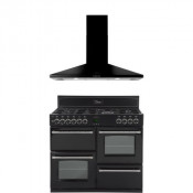 Belling 444442531 Black Classic 100GT Range Cooker with 100CHIM Chimney Hood