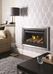 Crystal Florida HE Log Gas Fire - Black/Brushed Steel W/ Black Interior