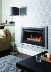 Crystal Florida HE Pebble Gas Fire - Brushed Steel/Black W/ Black Interior