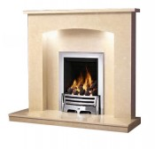 Be Modern Isabelle Fireplace with Lights - Marfil Micro Marble