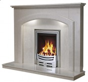 Be Modern Andorra Fireplace with Lights - Manila Micro Marble