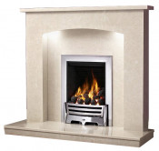 Be Modern Isabelle Fireplace with Lights - Manila Micro Marble