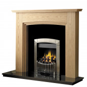 Rotherham 54 Inch Fireplace W/ Lights - Clear Oak/Black Granite