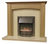 Parkrose 54 Inch Surround W/ Marble Fireplace - Natural Oak/Mocha Beige