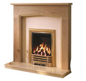 Be Modern Tudor Natural Oak Finish Surround with Marfil Micro Marble Back Panel and Hearth