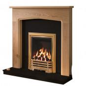 Be Modern Tudor Natural Oak Finish Surround with Black Granite Back Panel and Hearth