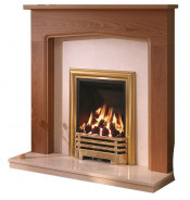 Be Modern Tudor Warm Oak Finish Surround with Manila Micro Marble Back Panel and Hearth