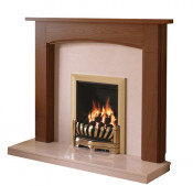 Be Modern Logan 46 Inch Surround W/ Marble Fireplace - Warm Oak/Manila