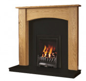 Be Modern Darwin 48 Inch Surround W/ Marble Fireplace - Golden Oak/Black Granite