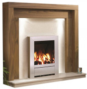 Be Modern Kansas Natural Oak Finish Surround with Manila Micro Marble Back Panel and Hearth