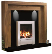 Be Modern Kansas Natural Oak Finish Surround with Black Granite Back Panel and Hearth