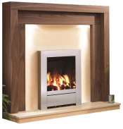 Be Modern Kansas American Walnut Finish Surround with Marfil Micro Marble Back Panel and Hearth