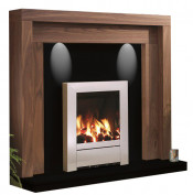 Be Modern Kansas American Walnut Finish Surround with Black Granite Back Panel and Hearth
