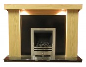 Chelsea Natural Oak Surround with Black Granite Marble Fireplace