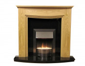 Lewis Natural Oak Surround with Black Granite Fireplace