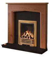Be Modern Tudor 48 Inch Surround W/ Marble Fireplace - Warm Oak/Black Granite