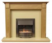 Henley 54 Inch Surround W/ Marble Fireplace - Natural Oak/Mocha Beige
